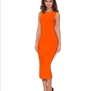 Burnt Orange Side Weave Bandage Dress